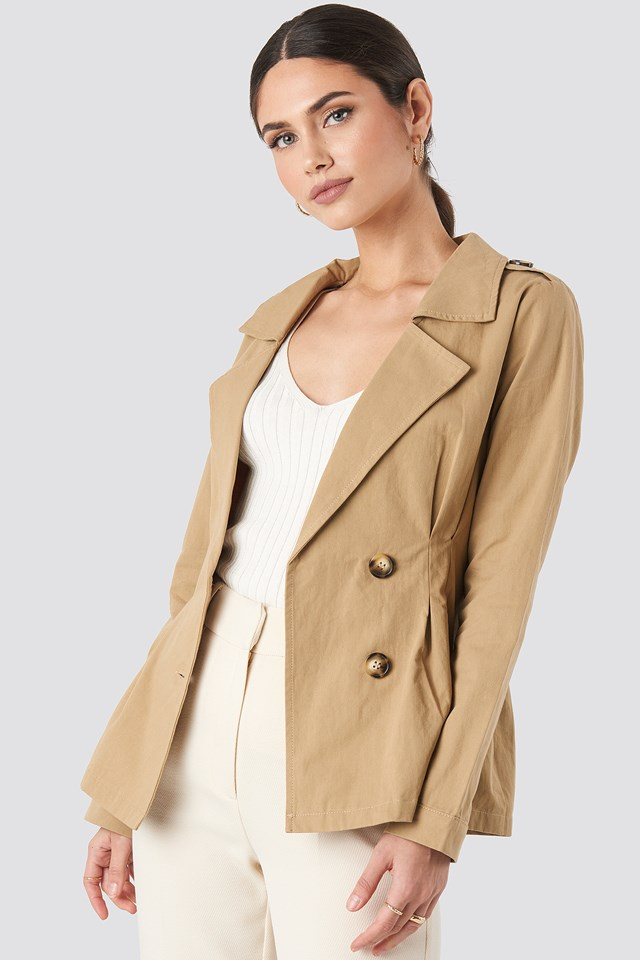 Beige Short Marked Waist Trench Coat