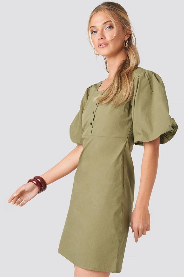 Dark Green Sukienka Midi Z Krótkim Rękawem I Guzikami
