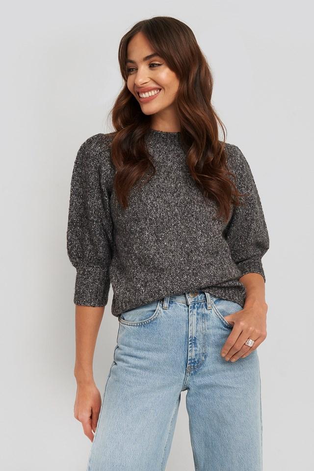 Short Puff Sleeve Knitted Sweater Black