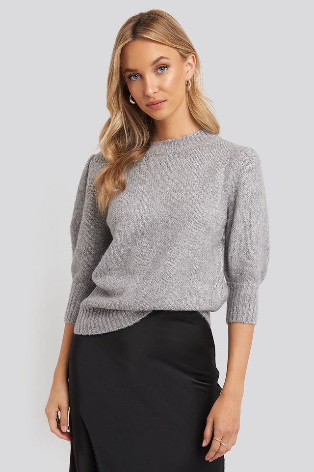 Short Puff Sleeve Knitted Sweater Light Grey Melange