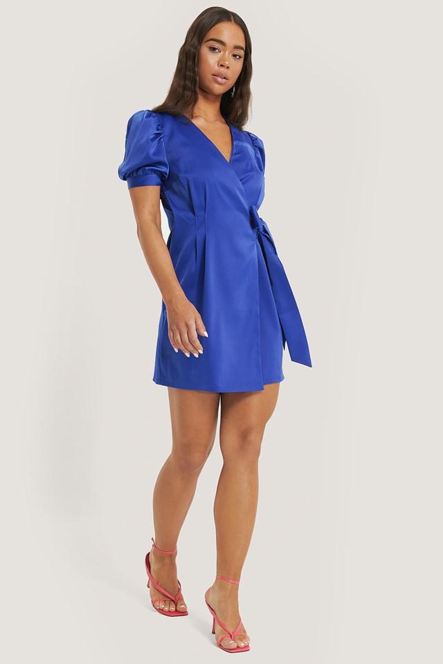 Short Puff Sleeve Mini Dress Blue