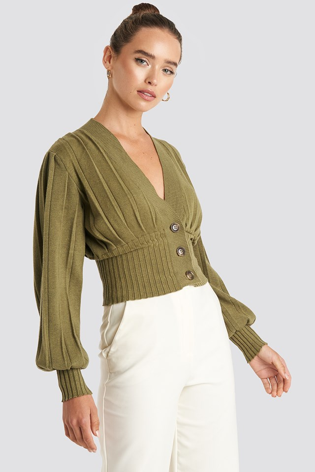 Short Ribbed Cardigan Olive Green