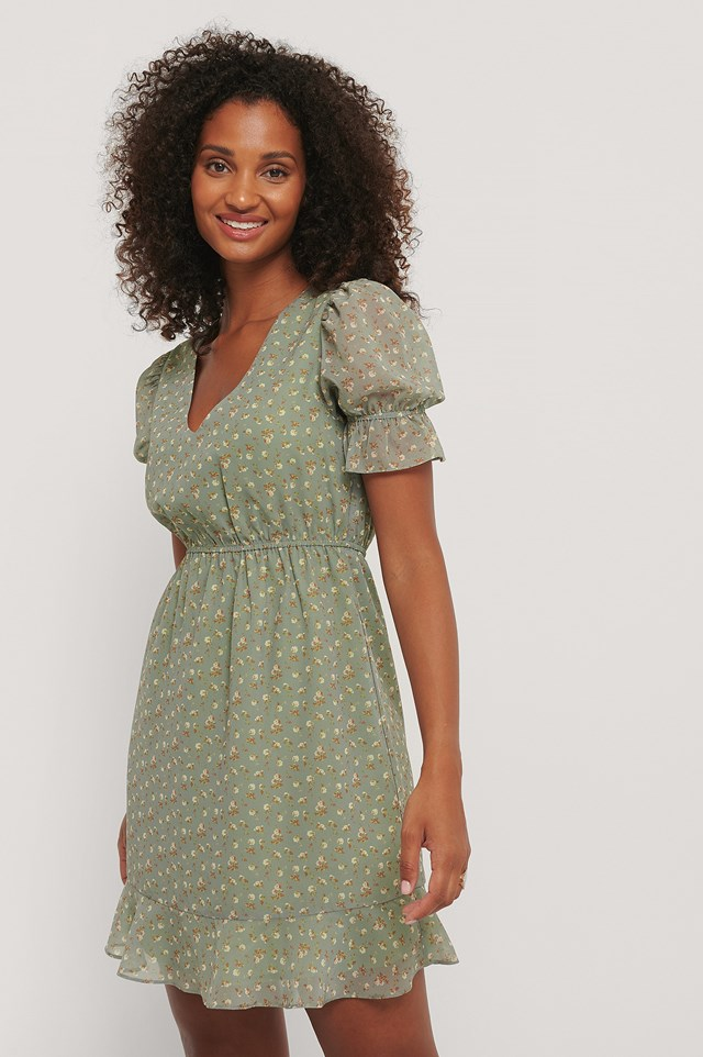 Short Sleeve Elastic Waist Dress Green Flower