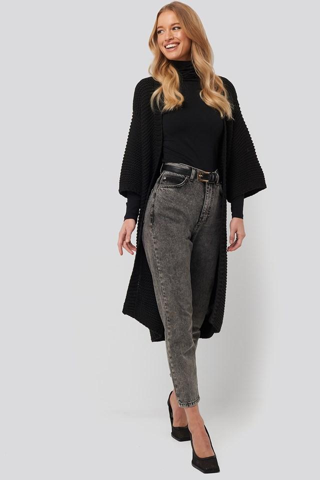 Short Sleeve Heavy Knitted Cardigan Black