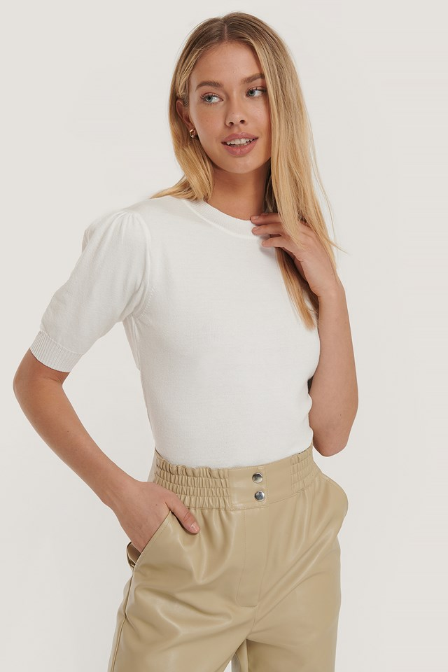 Short Sleeve Knitted Top White