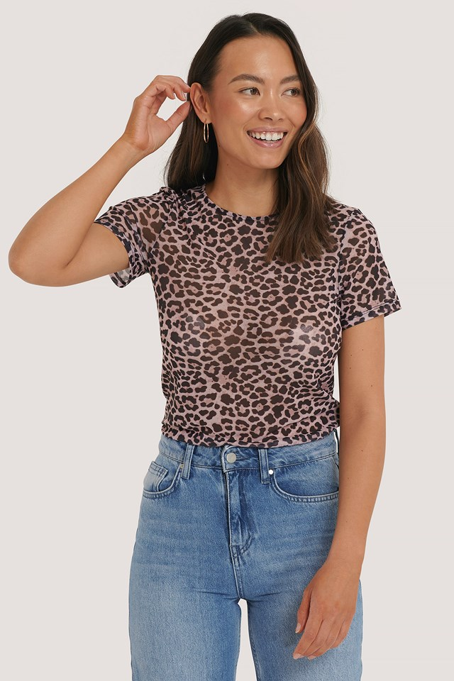 Short Sleeve Mesh Top Leopard