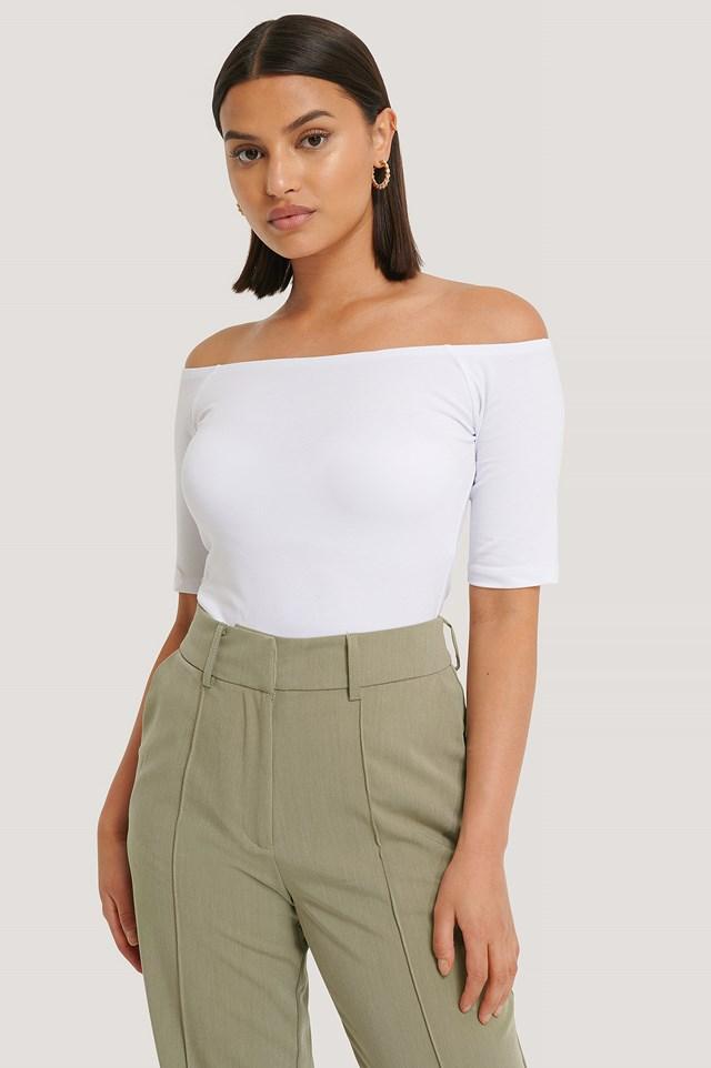 Short Sleeve Off Shoulder Top White
