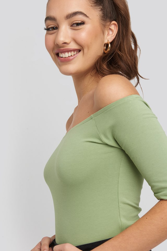 Short Sleeve Off Shoulder Top Khaki