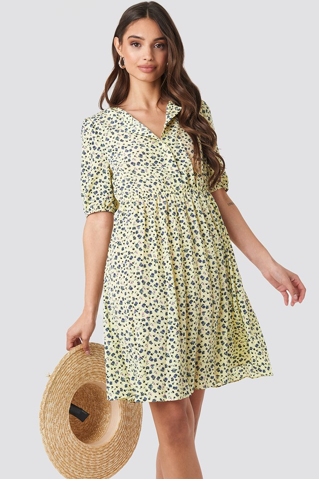 Flower Light Yellow Print Short Sleeve Pleated Skirt Dress