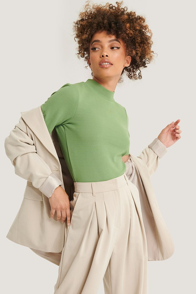 Recycled Short Sleeve Ribbed Top Green
