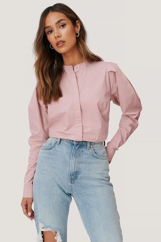 Shoulder Detailed Blouse Pink