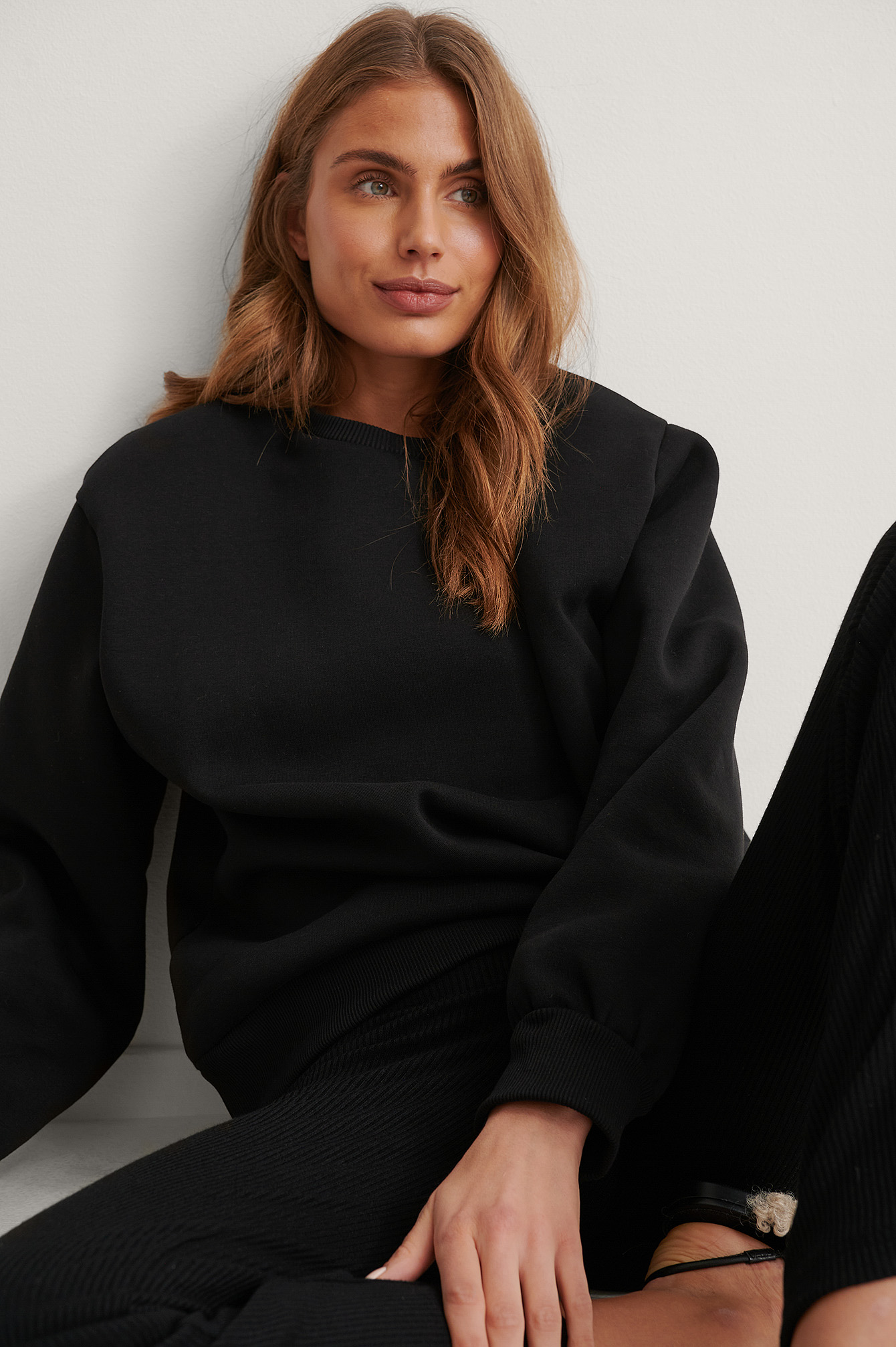 Black Organic Shoulder Pad Sweatshirt