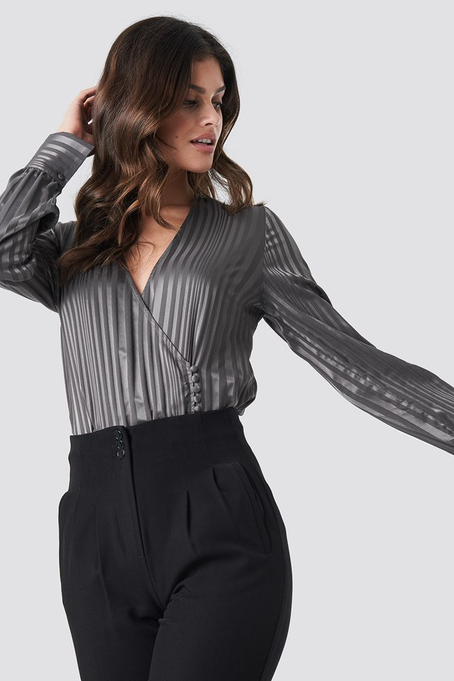 Grey Side Button Up Blouse