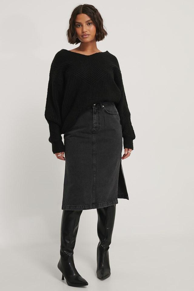 Black Side Slit Denim Skirt