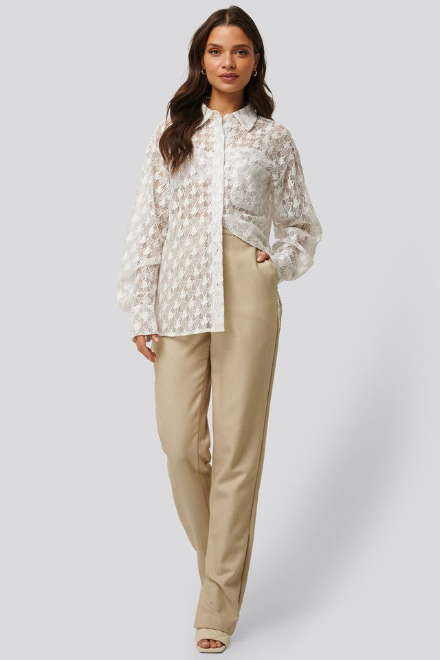 Beige Side Slit Suit Pants