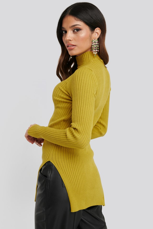 Yellow Side Split Ribbed Sweater