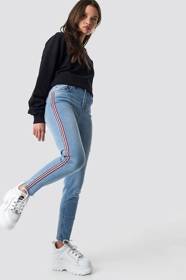 Side Striped Skinny Jeans Mid Blue