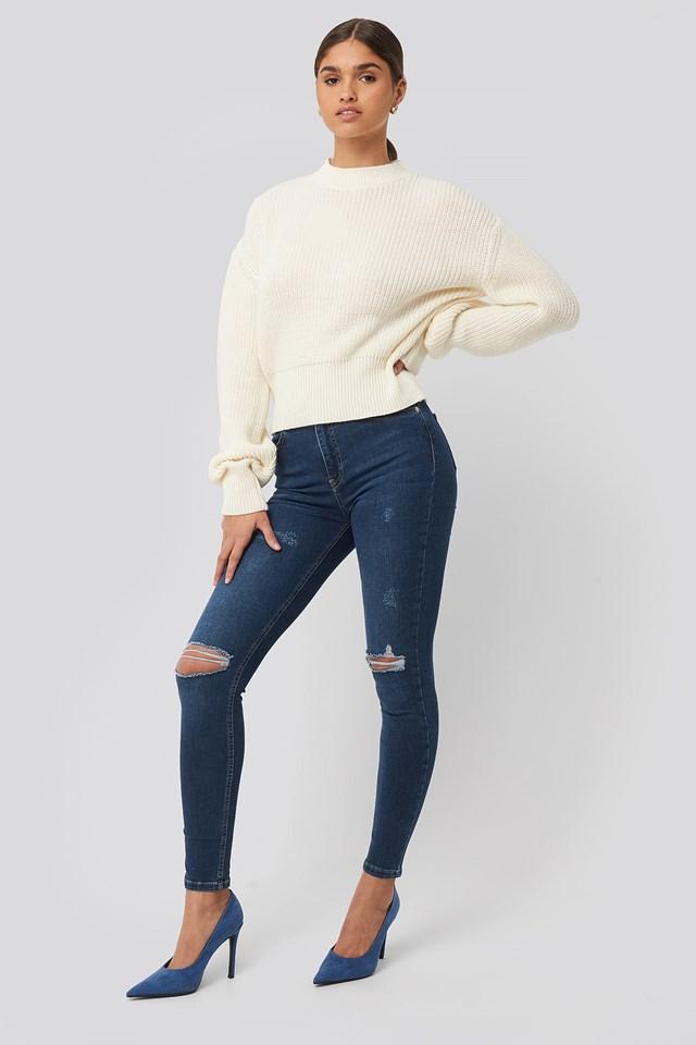 Dark Blue Skinny High Waist Destroyed Jeans