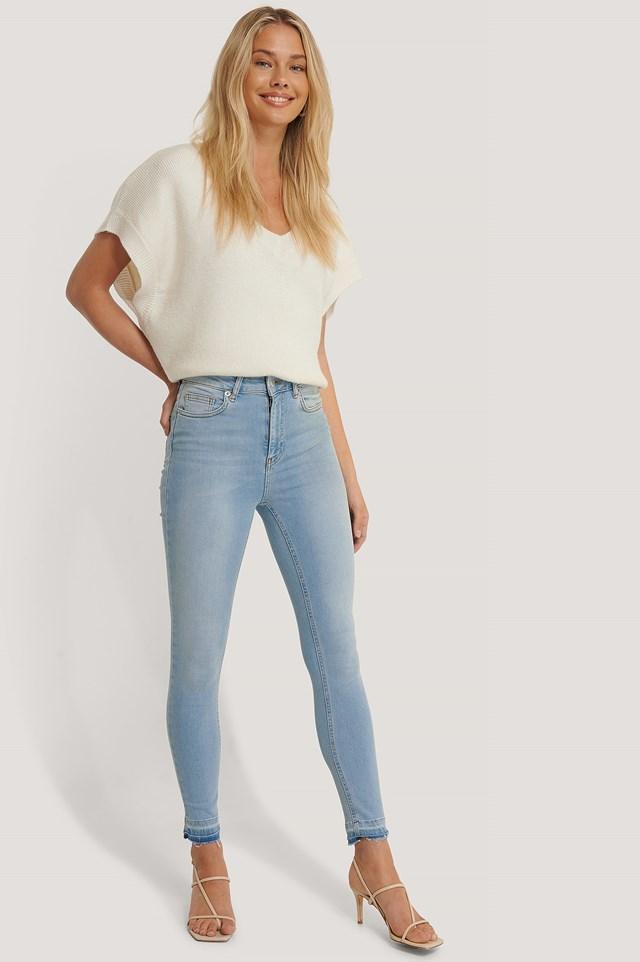 Skinny High Waist Open Hem Jeans Light Blue
