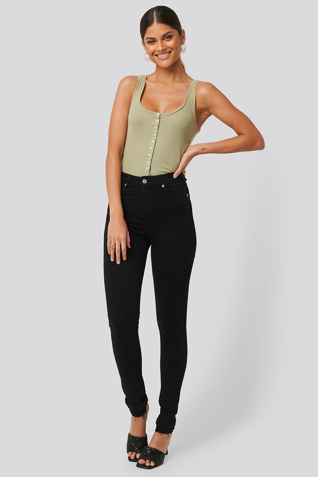 Skinny High Waist Open Hem Jeans Tall Black