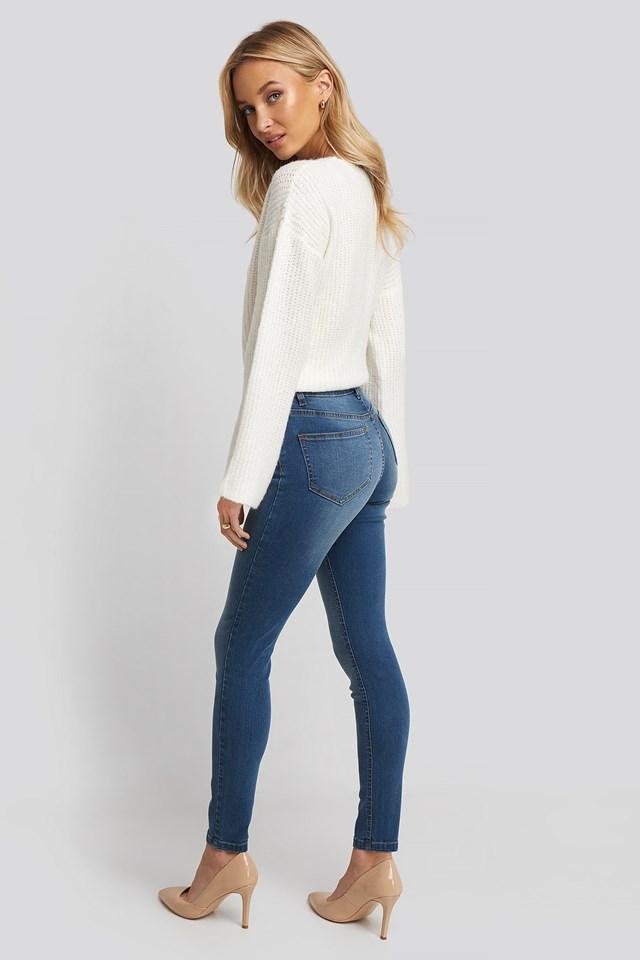 Mid Blue Skinny Low Waist Jeans