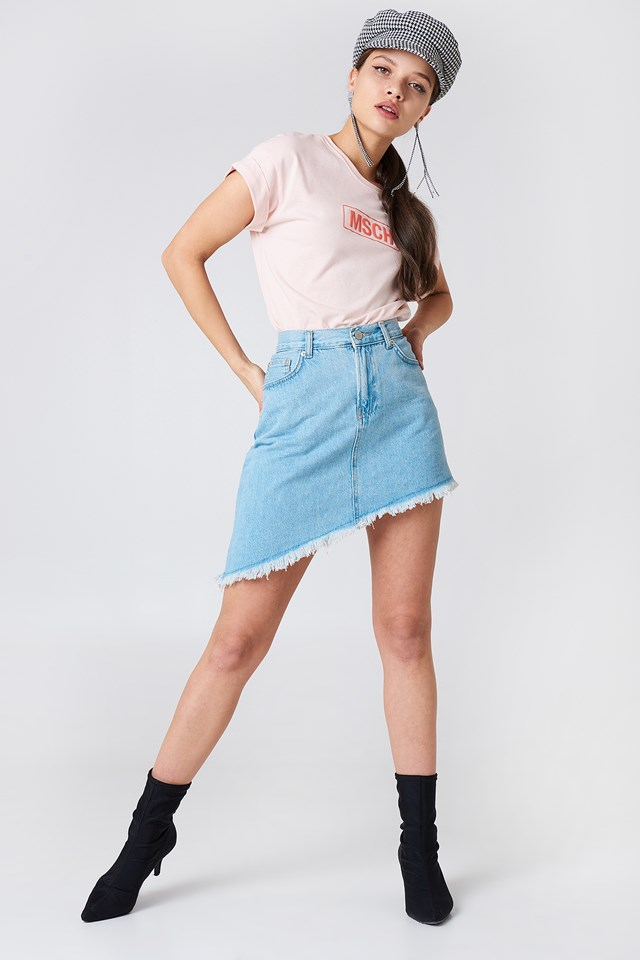 Slanting Hem Denim Skirt Light Blue
