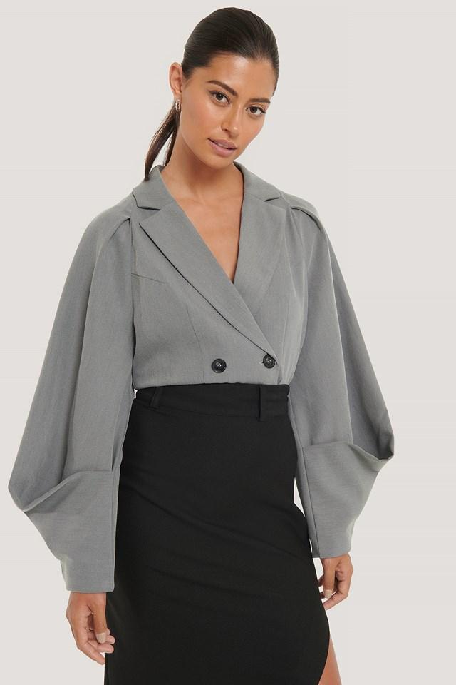 Sleeve Detail Blazer Grey