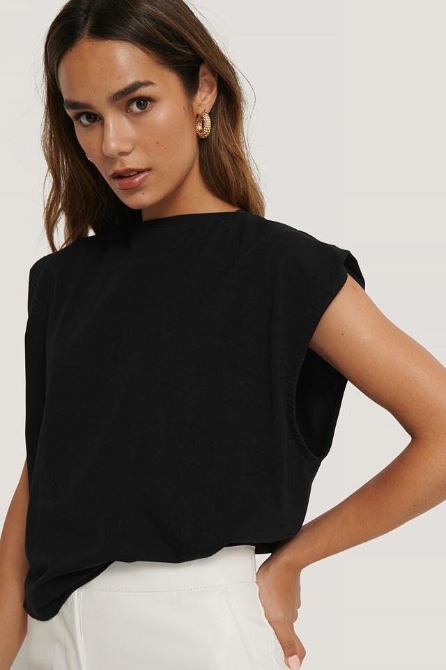 Organic Sleeve Detail Top Black