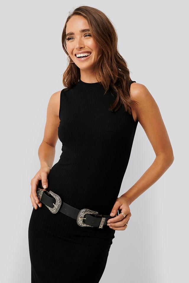 Sleeveless Ribbed Midi Dress Black