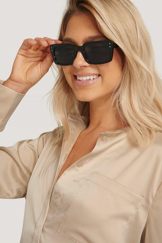 Black Slim Rectangular Wide Frame Sunglasses
