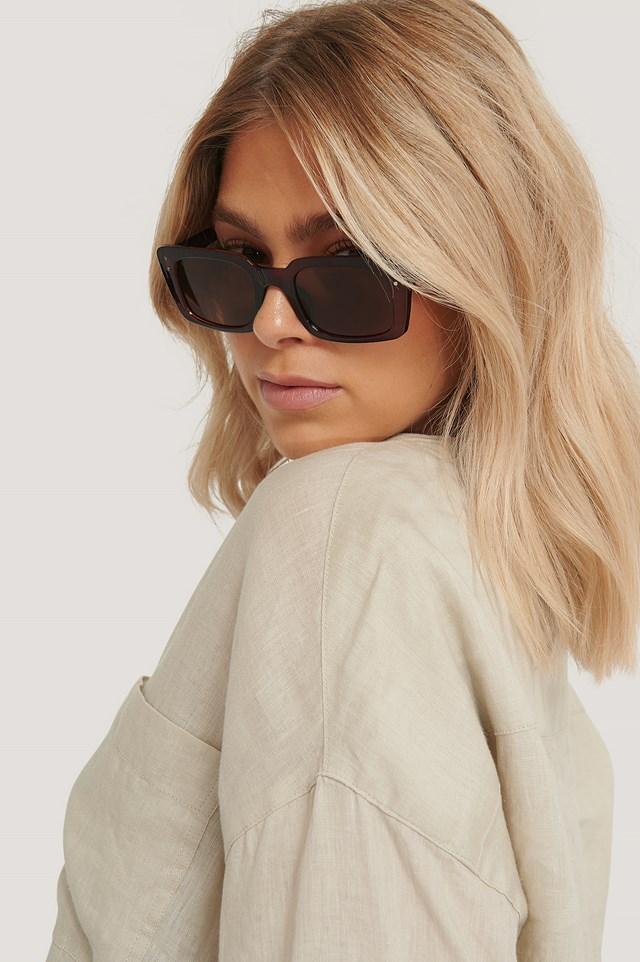 Okulary Z Cienkimi Prostokątnymi Oprawkami Brown