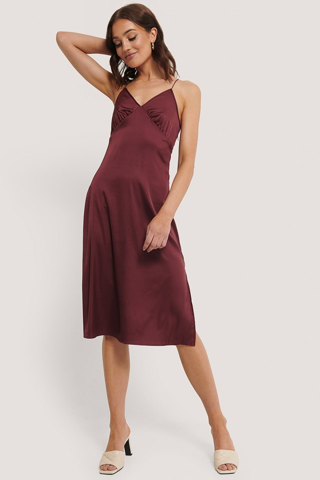 Slip Satin Slit Dress Burgundy