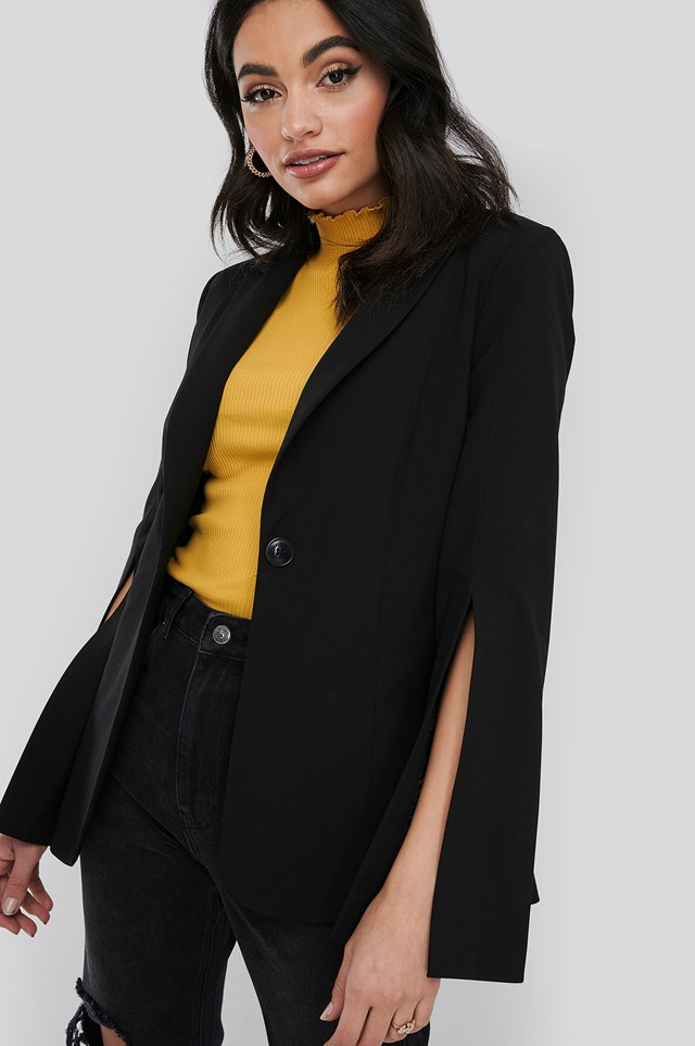 Black Slit Sleeve Blazer
