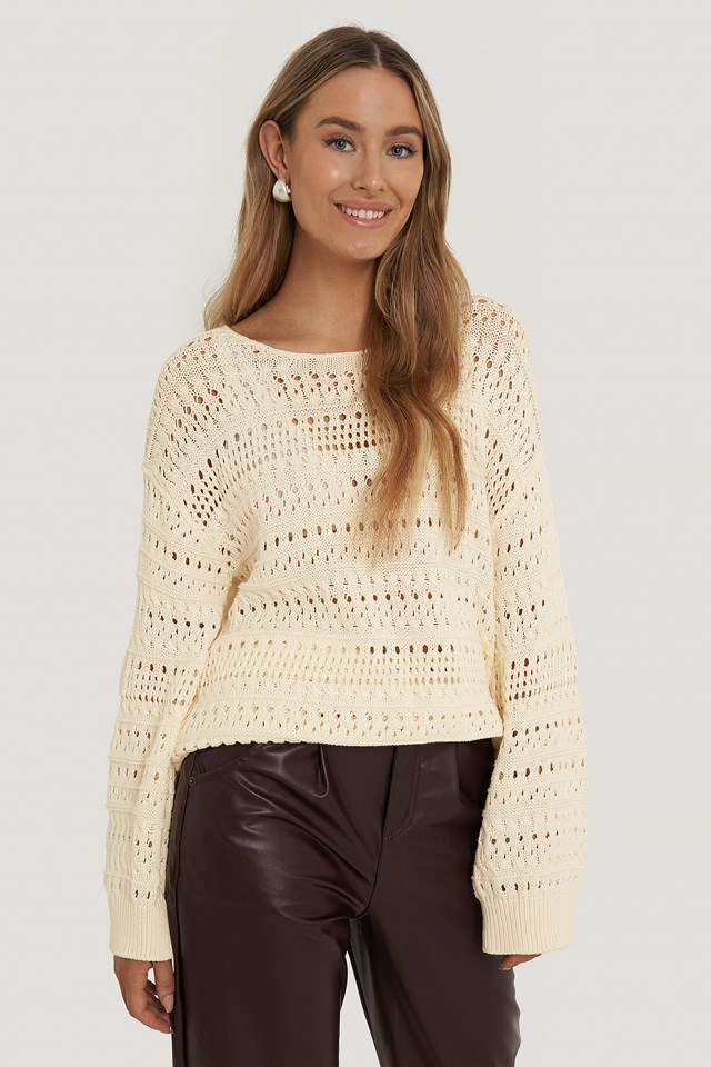 Slouchy Knitted Sweater Cream