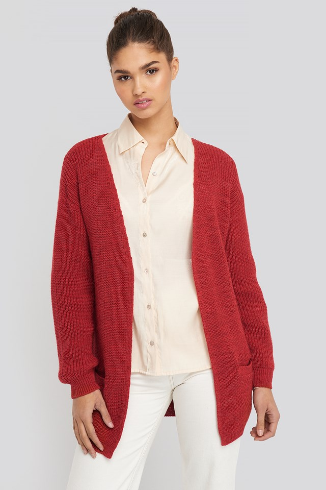 Slouchy Open Front Cardigan Red