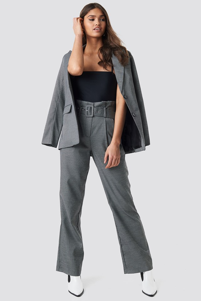 Black Small Check Paperbag Suit Pants