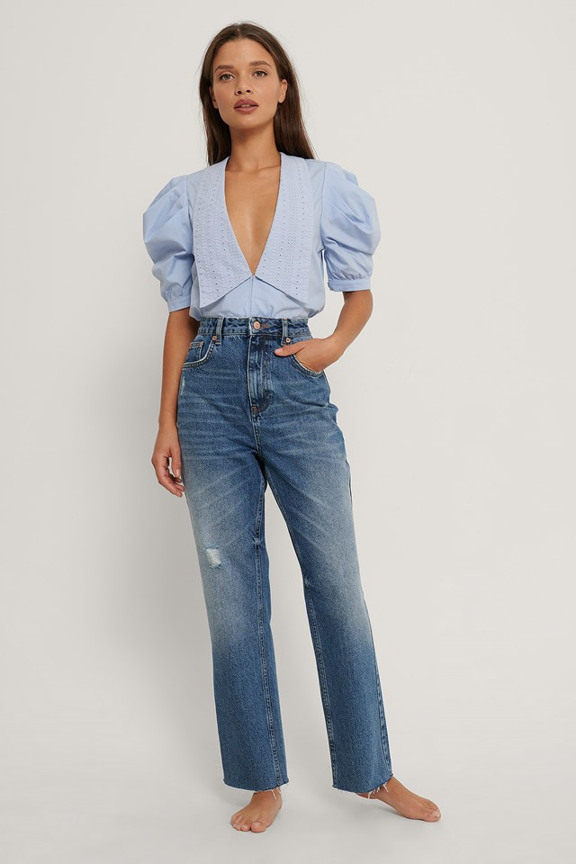 Small Ripped Details Straight High Waist Jeans Mid Blue