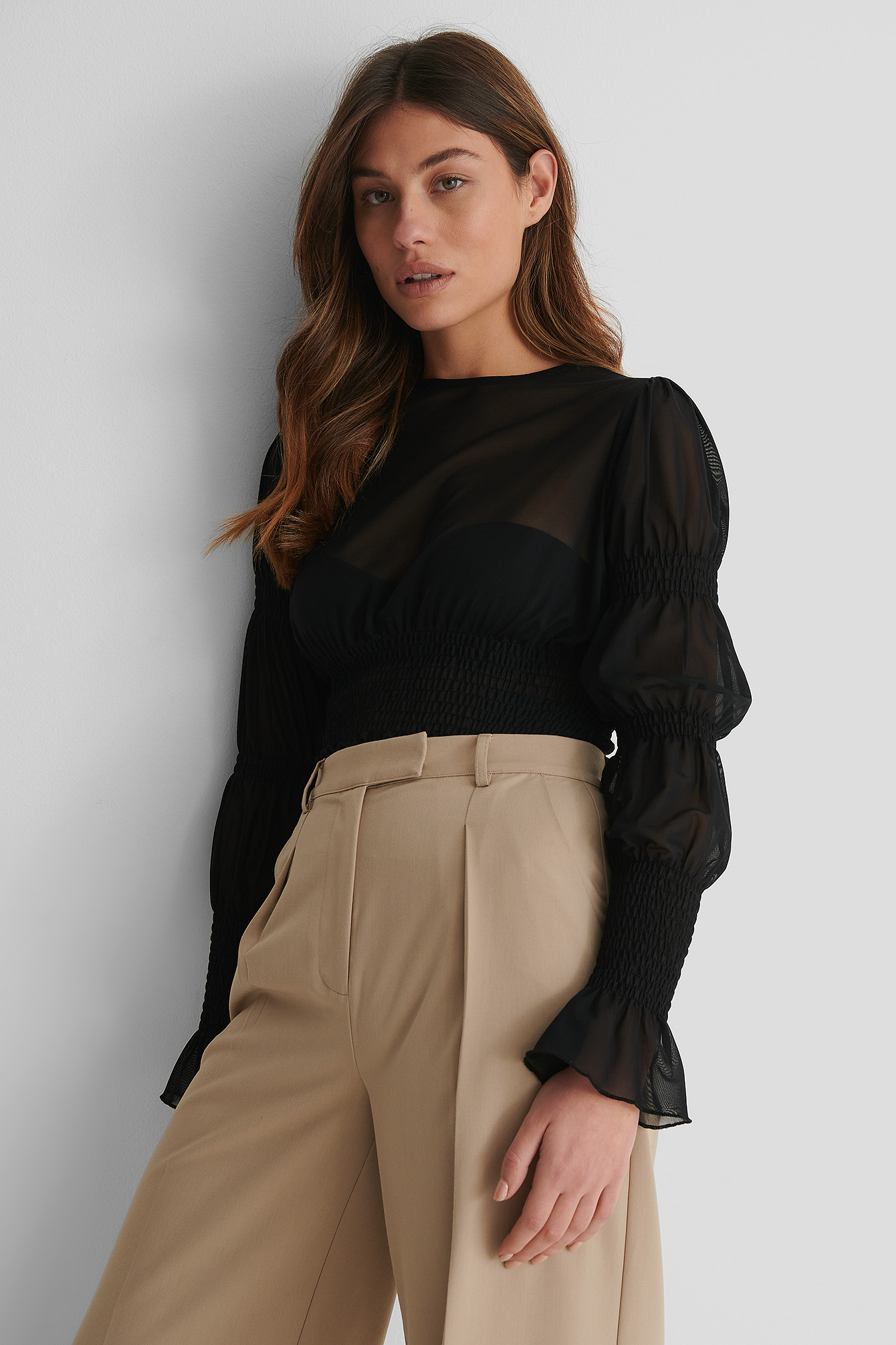 Black Smock Detail Mesh Top