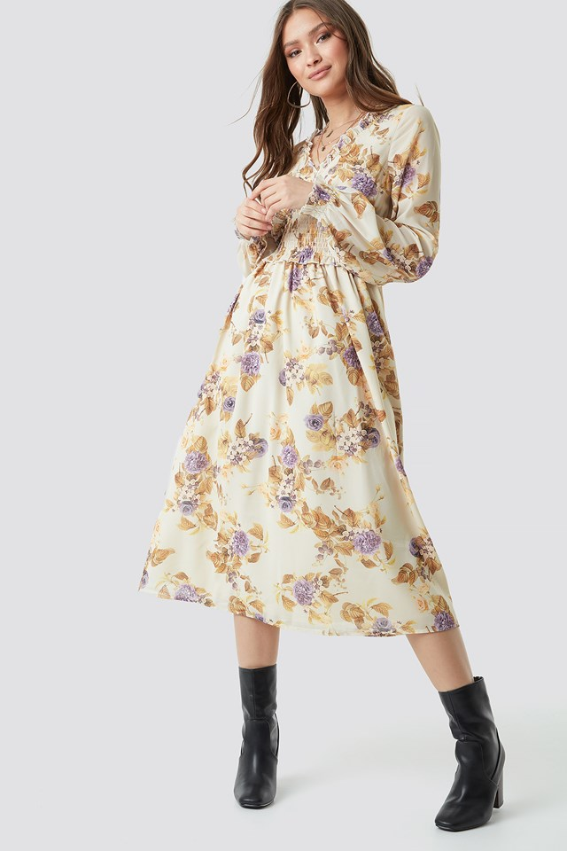 Smock Detail V-Neck Midi Dress Soft Floral Pattern