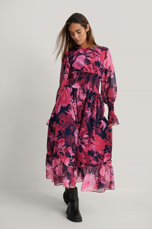 Pink Flower Zwężana Szyfonowa Sukienka Midi