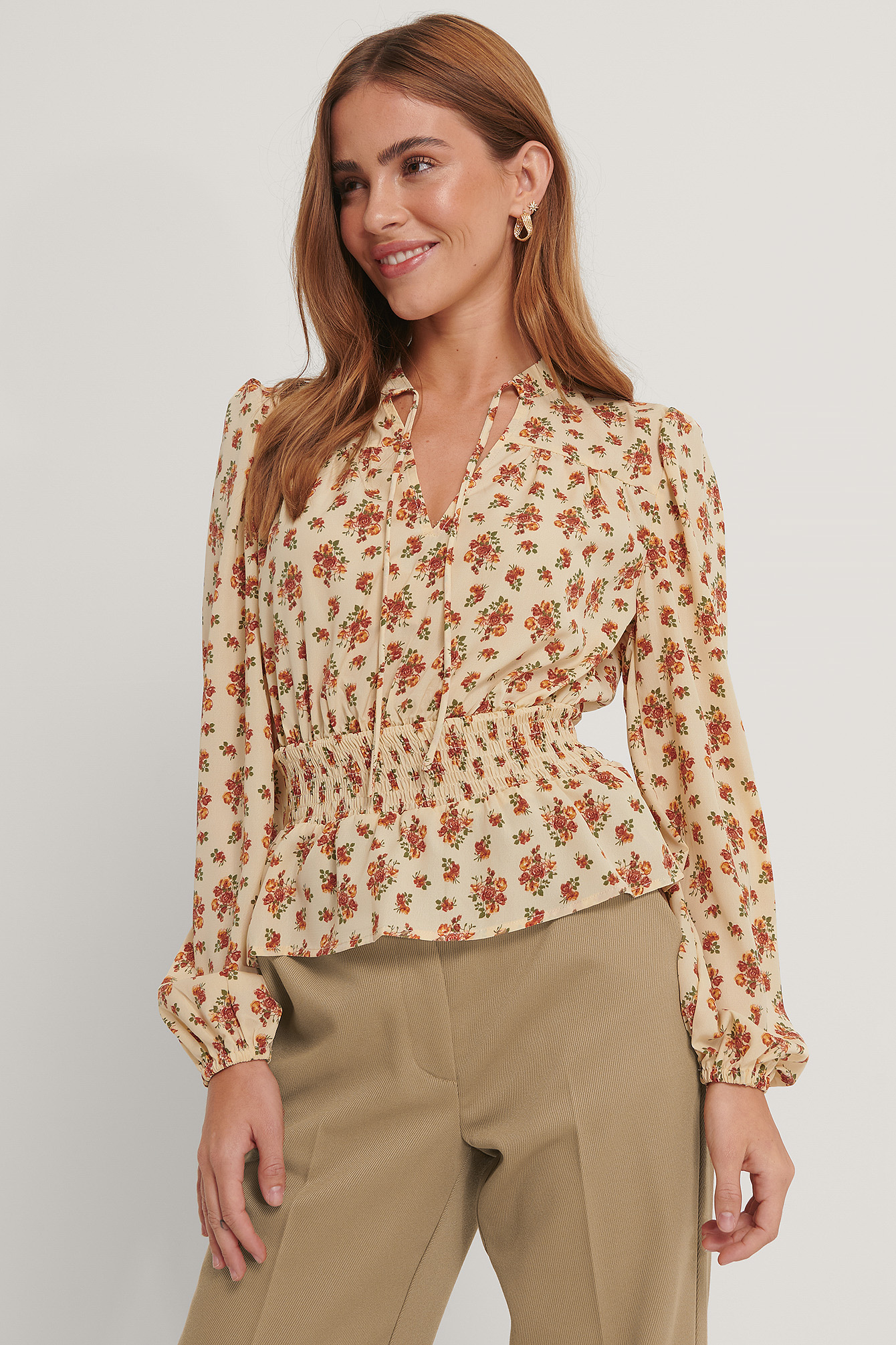 Cream Floral Smock Waist V-Neck Blouse