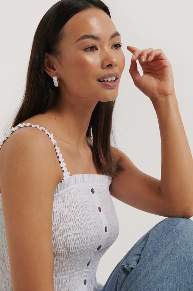 White Smocked Button Top