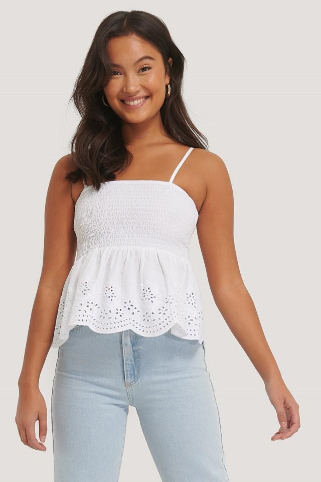 White Smocked Embroidery Singlet