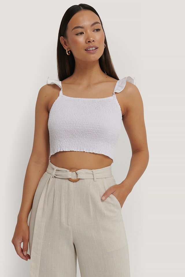 Smocked Flounce Strap Top White