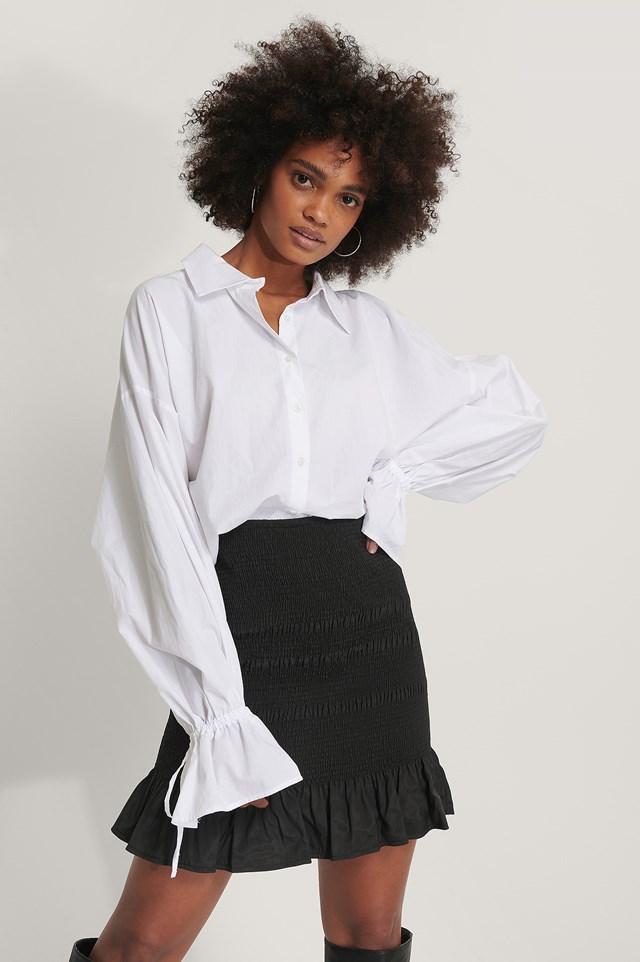 Smocked Mini Skirt Black