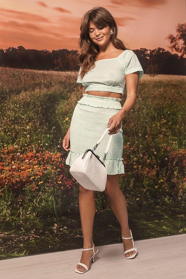 Smocked Mini Skirt Green Print