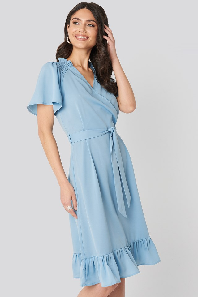 Smocked Shoulder Belted Frill Dress Light Blue