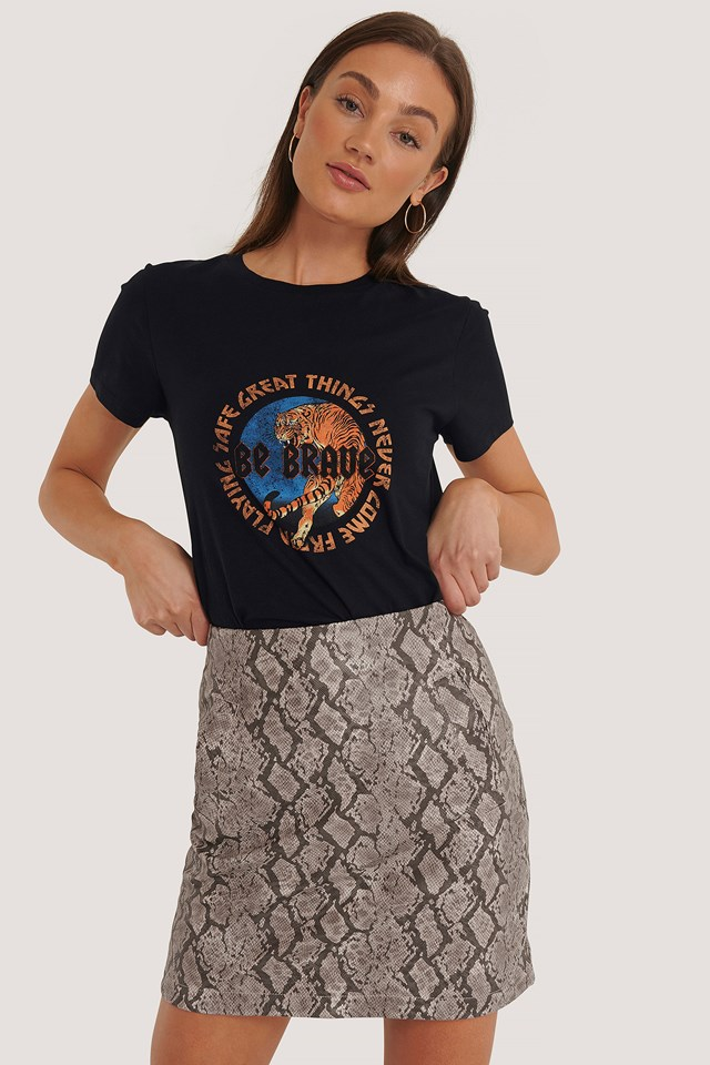 Tan Snake Snake Print Mini Skirt