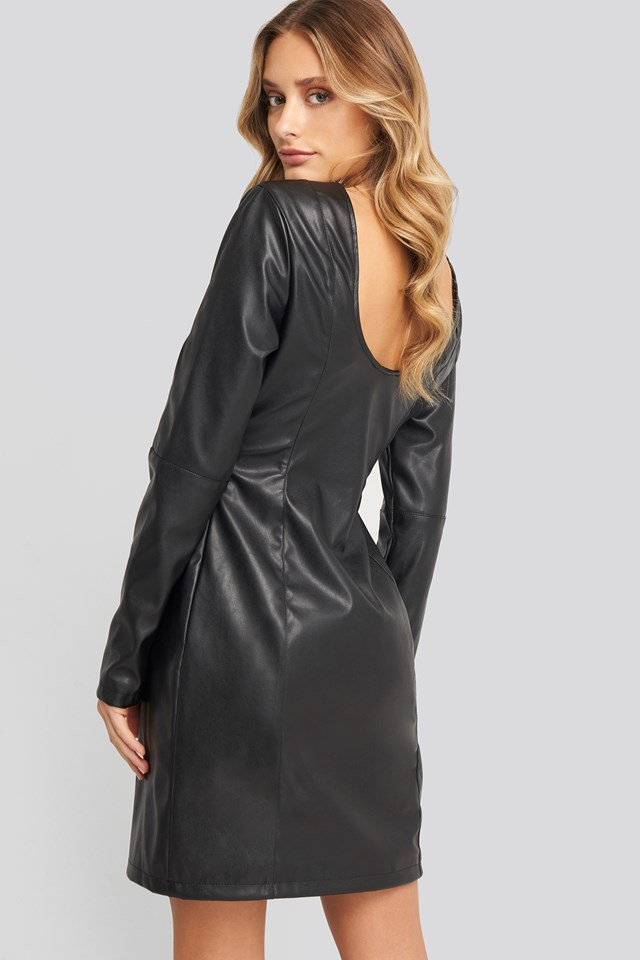 Black Soft Mini LS PU Dress