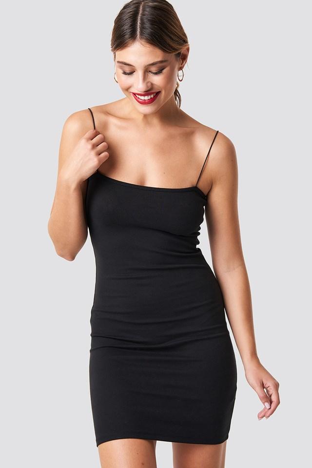 Black Sukienka Z Cienkimi Ramiączkami